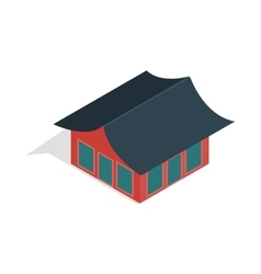 Traditional korean house icon isometric 3d style vector