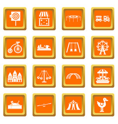 Amusement park icons set orange vector