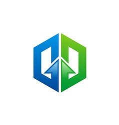 arrow business construction logo vector image vector image