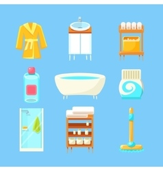 Bathroom things set vector