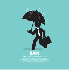 Businessman With Umbrella In The Rain vector image vector image