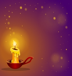 card with burning candle vector image
