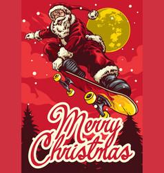 christmas greeting card with santa claus riding vector image vector image