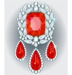 Diamond brooch vector