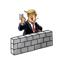 Donald trump build wall vector