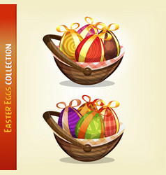 easter eggs inside baskets vector image
