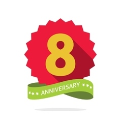 Eight anniversary badge with shadow red starburst vector image vector image