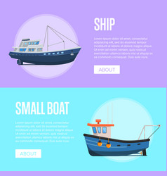 Fishing company flyers with small fishing boats vector