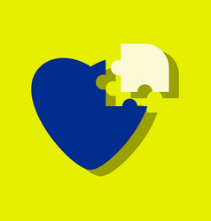Flat icon design collection puzzle heart in vector