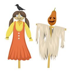 Garden ugly terrible fabric scarecrow fright vector