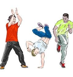 Group of men breakdancing vector