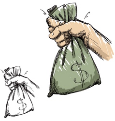 Hand grabbing a bag with money vector