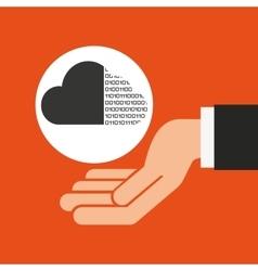 Hands businessman data cloud binary vector