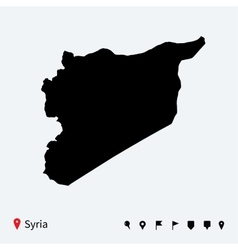 High detailed map of syria with navigation pins vector