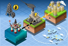 Isometric infographic petroleum rig energy diagram vector