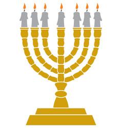 Jewish menorah candlestick vector