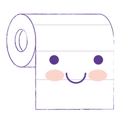 kawaii roll paper towel in purple blurred vector image vector image