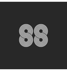 Number 88 hipster logo monogram black and white vector