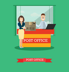 Post office concept in flat vector