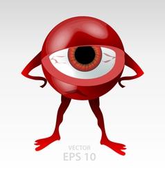 Red angry eyeball mascot vector