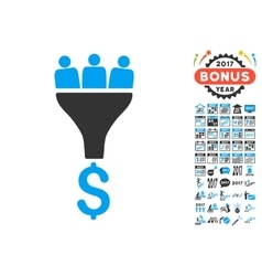 Sales funnel icon with 2017 year bonus symbols vector