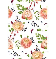 seamless floral pattern of pink rose ranunculus vector image