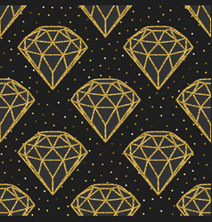 Seamless pattern of geometric golden foil diamonds vector