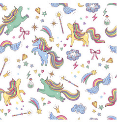 Seamless pattern of unicorn clouds vector