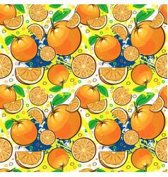 Seamless pattern orange fruits summer ornament vector