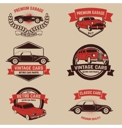Set of retro car service emblems vintage vehicle vector