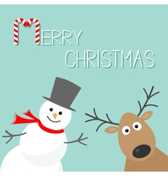 Snowman and deer Blue background Candy cane Merry vector image vector image