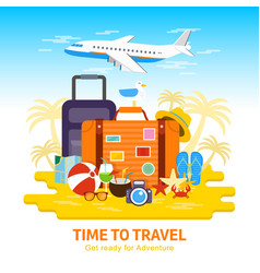 travel luggagetravel to world flat design vector image vector image
