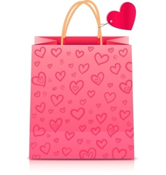 Valentines day rore paper shopping bag vector image