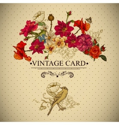 Vintage Floral Card with Birds and Butterflies vector image vector image
