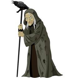 Witch with raven vector