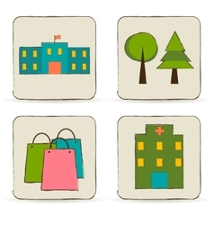 Urban buildings and places icons set vector