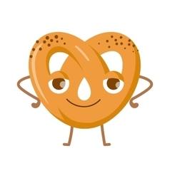 Soft pretzel with poppy-seed fresh tasty snack vector