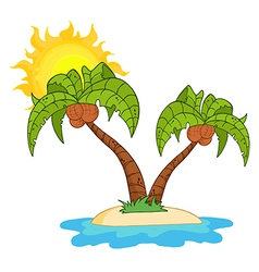 Island with two palm tree vector