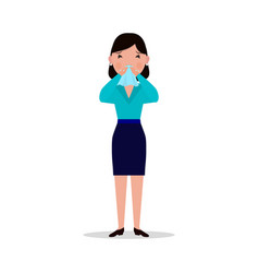 cartoon woman caught cold sneeze ill flu vector image