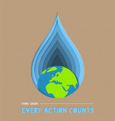 Earth day water conservation paper cut art vector