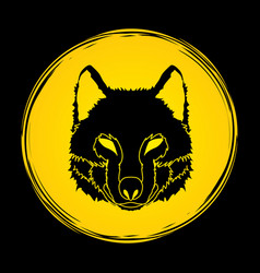 wolf face front view fox head vector image