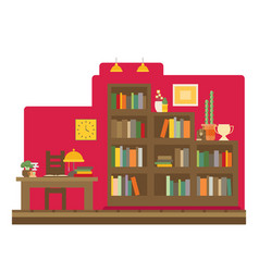 cabinet and library books and knowledge flat and vector image