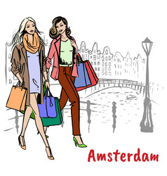 Friends with shopping bags vector