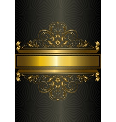 Gold vintage pattern with ribbons and strips vector