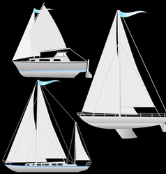 Set sailing boat floating vector