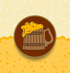 Vintage card wooden mug beer vector