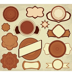 Vintage chocolate labels set in brown and beige co vector