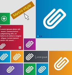 Paper clip icon sign metro style buttons modern vector