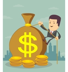 Man and money bag money making bank deposit vector