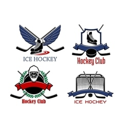 Ice hockey badges and icons vector